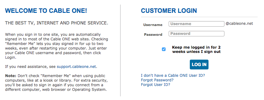Cable ONE Email - Mail Login and Password Reset Instructions