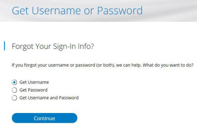 Charter.net forgot username or password form