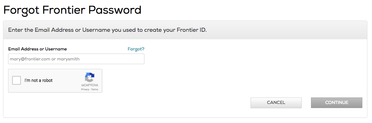 Frontier mail forgot password page