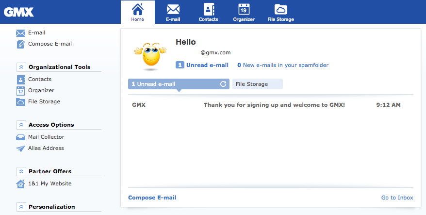 GMX email inbox welcome