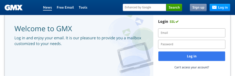 GMX email login form