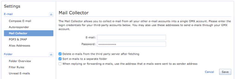 GMX Mail Collector set up