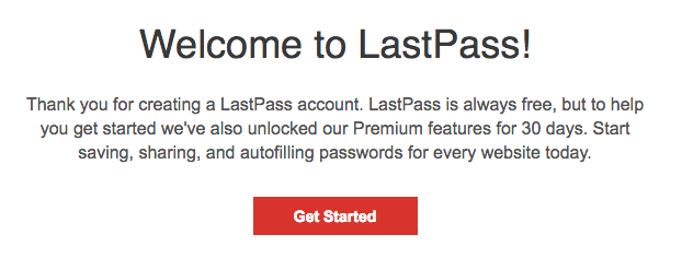 LastPass welcome email