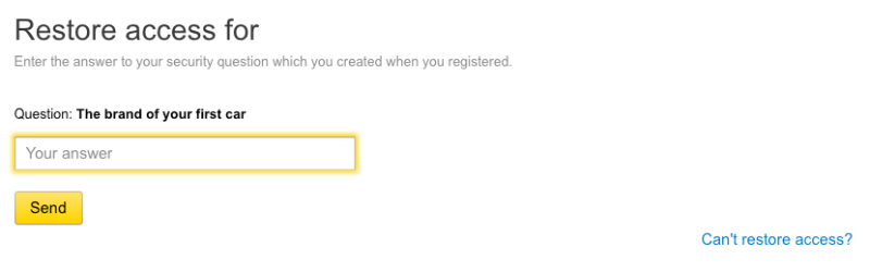 Yandex mail password reset security question