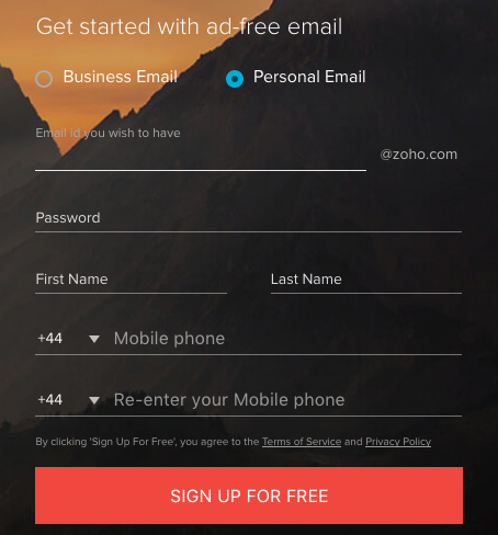 Zoho mail signup page